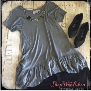 Anthropologie DANTELLE Silver Gray Peplum Top